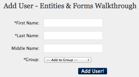 The Add User form